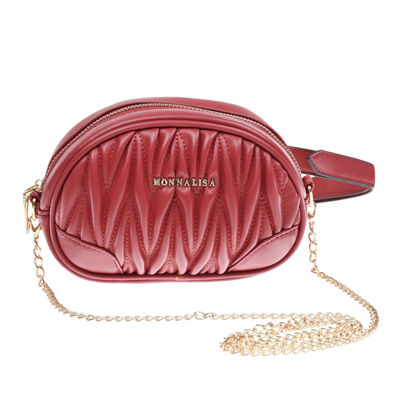 Купить Красная сумка с поясным ремнем и цепочкой, 17х5х10 см Monnalisa детская, Красный, 100%полиуретан. 100%полиэстер