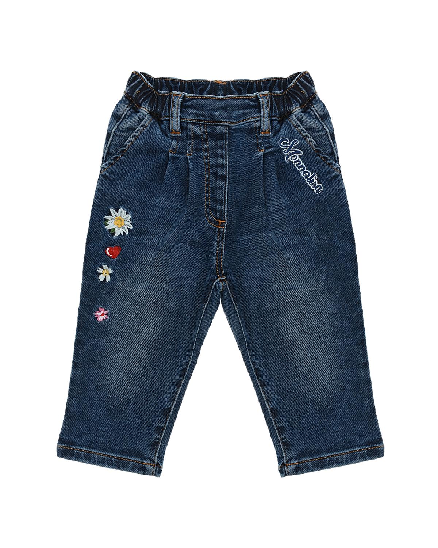Купить Джинсы с цветочным принтом Monnalisa детские, Синий, 89%хлопок+9%полиэстер+2%эластан