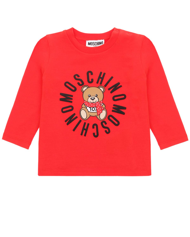 Купить Красная толстовка с принтом медвежонок в шарфе Moschino детская, Красный, 95% хлопок+5% эластан