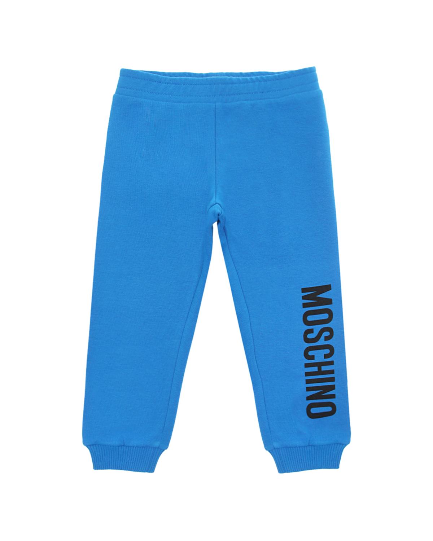 Купить Голубые спортивные брюки с логотипом Moschino детские, Голубой, 95% хлопок+5% эластан