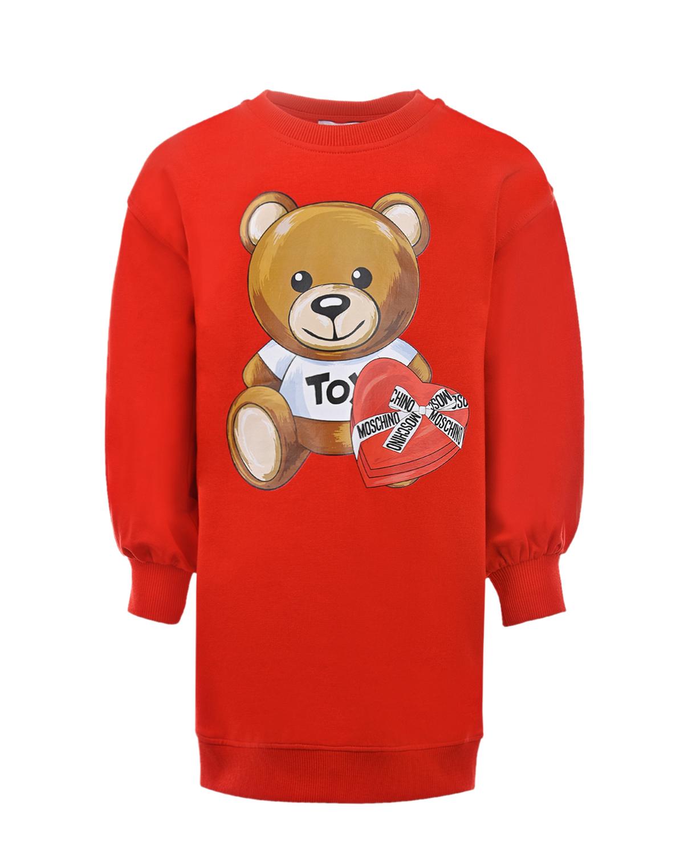 Красное платье-толстовка Moschino детское, Красный, 95% хлопок+5% эластан  - купить со скидкой