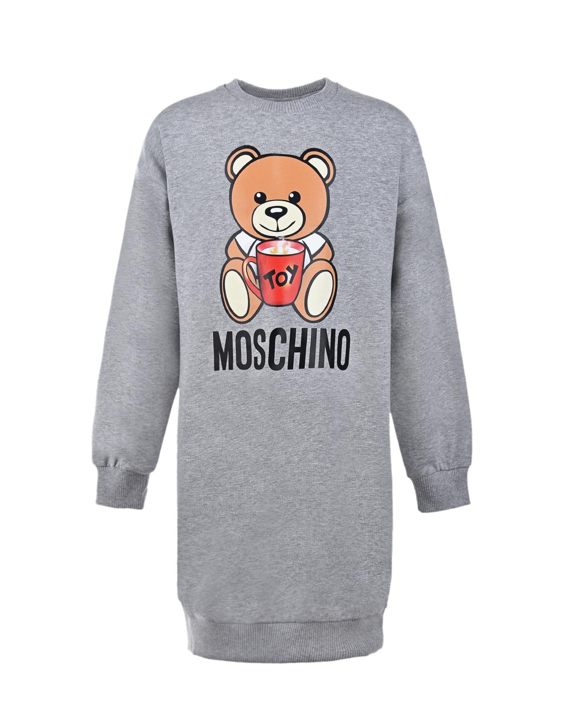 Купить Серое платье-толстовка Moschino детское, Серый, 95% хлопок+5% эластан