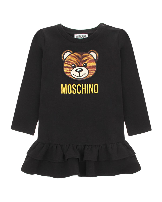 Купить Черное платье с принтом медвежонок Moschino детское, Черный, 95% хлопок+5% эластан, 100% полиэстер, 68% вискоза+32% металл нить