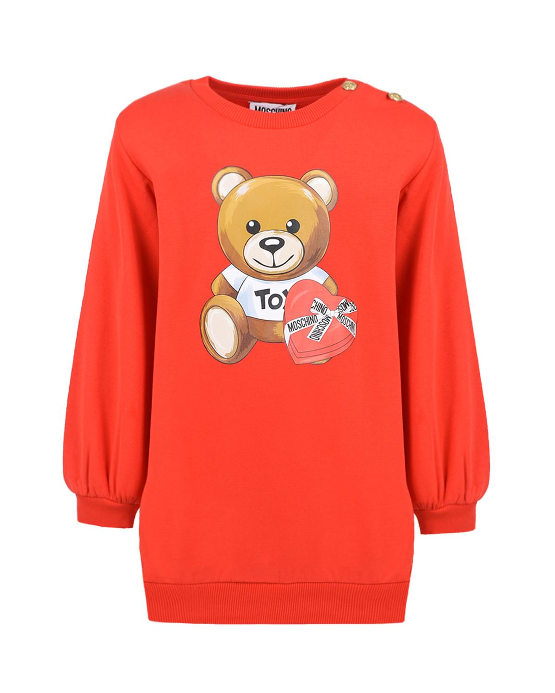 Купить Красное платье с рукавом реглан Moschino детское, Красный, 95% хлопок+5% эластан