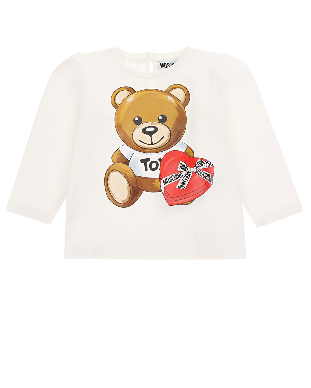 Купить Белая толстовка с принтом медвежонок с сердцем Moschino детская, Белый, 95% хлопок+5% эластан