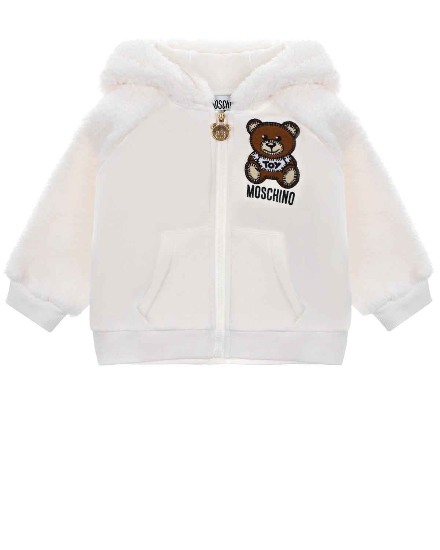 Купить Спортивная куртка с ушками на капюшоне Moschino детская, Белый, 95% хлопок+5% эластан, 100% полиэстер