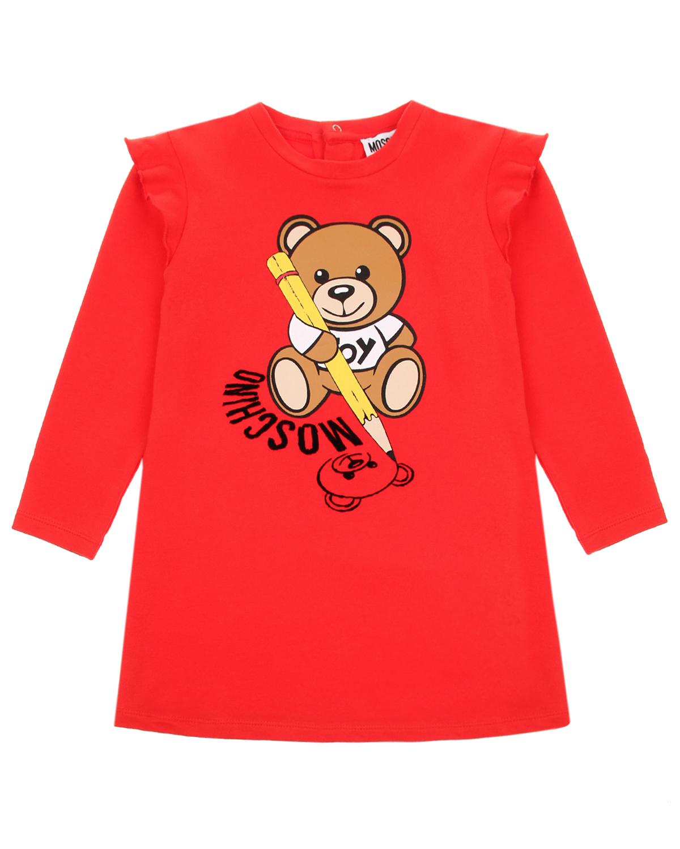 Купить Красное платье с принтом медвежонок с карандашом Moschino детское, Красный, 95% хлопок+5% эластан