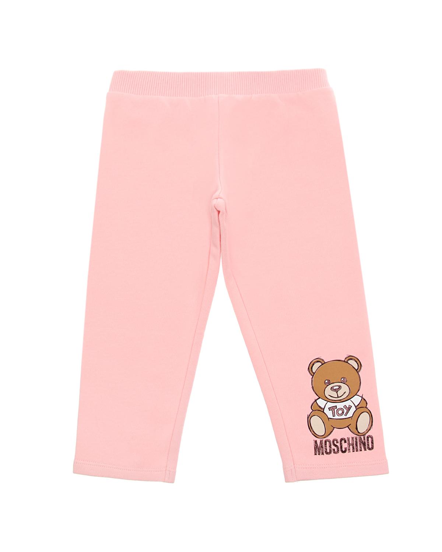 Купить Розовые спортивные брюки с принтом медвежонок Moschino детские, Розовый, 95% хлопок+5% эластан