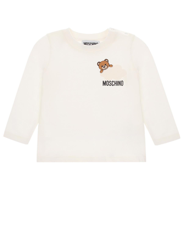 Купить Кремовая толстовка с принтом медвежонок на облаке Moschino детская, Кремовый, 100% хлопок, 95% хлопок+5% эластан, 100% полиамид