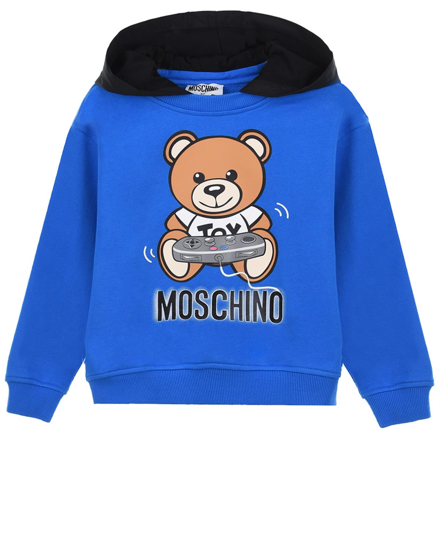 Купить Синяя толстовка-худи с контрастным капюшоном Moschino детская, Синий, 100% хлопок, 100% полиэстер, 95% хлопок+5% эластан