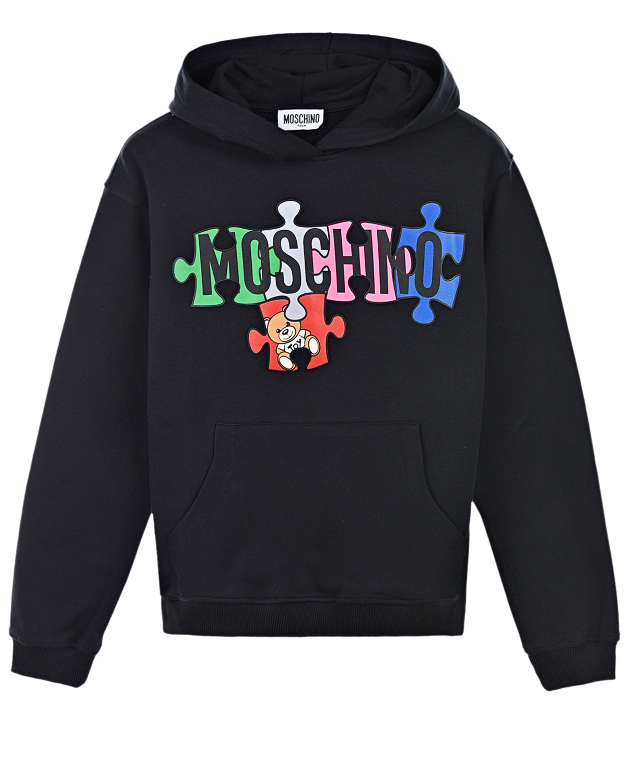 Купить Черная толстовка-худи с ярким логотипом Moschino детская, Черный, 95% хлопок+5% эластан