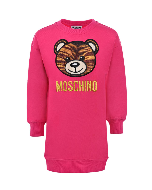 Купить Платье-толстовка цвета фуксии Moschino детское, Нет цвета, 95% хлопок+5% эластан, 100% полиэстер, 68% вискоза+32% металл нить