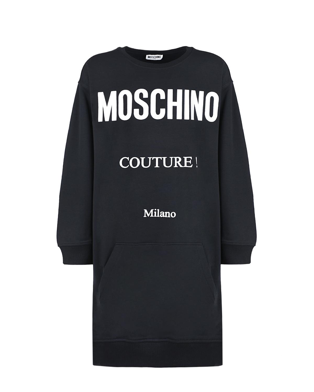 Купить Черное платье с карманом-кенгуру Moschino детское, Черный, 95% хлопок+5% эластан