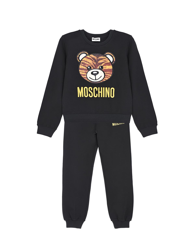 Купить Спортивный костюм с патчем медвежонок Moschino детский, Черный, 68% вискоза+28% полиамид+4% эластан, 90% полиэстер+10% эластан, 100% полиэстер, 68% вискоза+32% металл нить