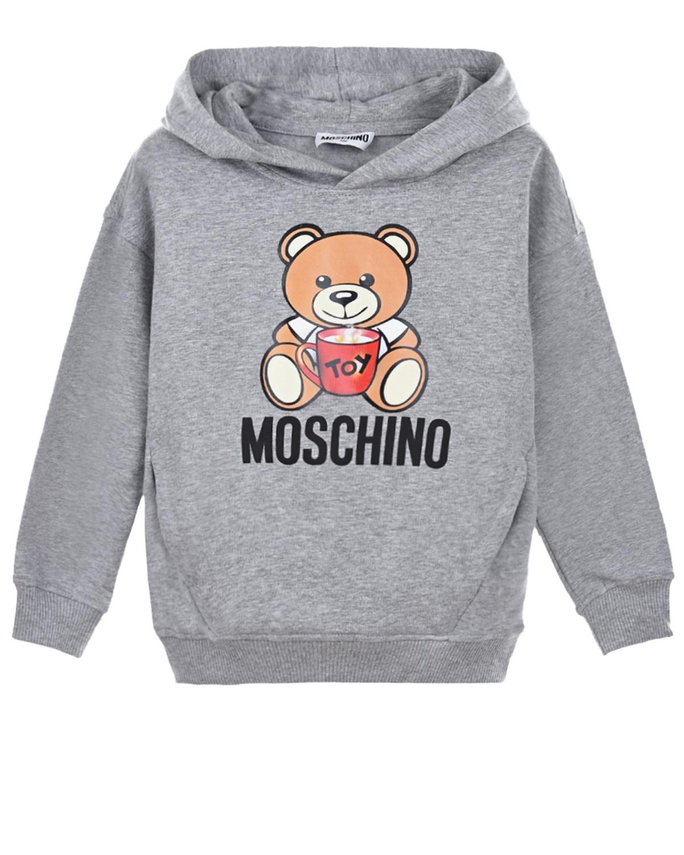 Купить Серая толстовка-худи для девочек Moschino детская, Серый, 95% хлопок+5% эластан