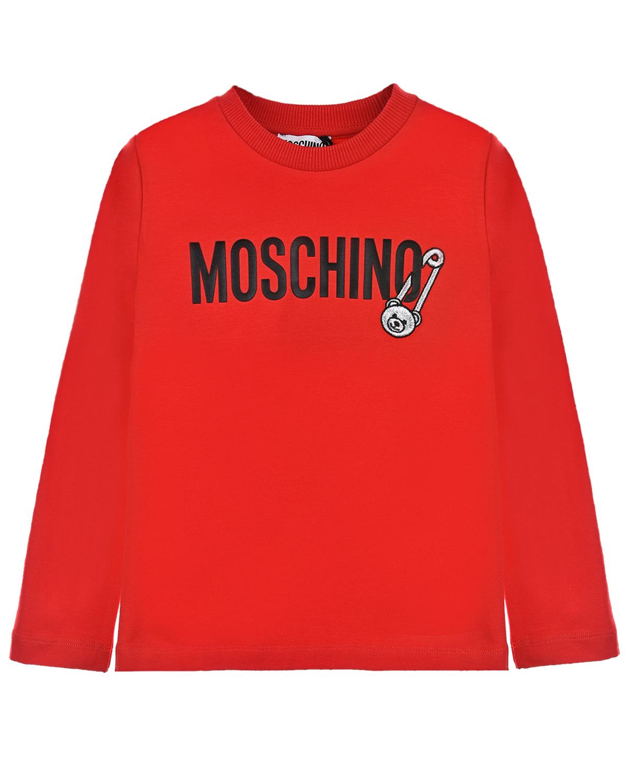 Купить Красная толстовка с лого Moschino детская, Красный, 95% хлопок+5% эластан, 50% полиэстер+50% металл нить