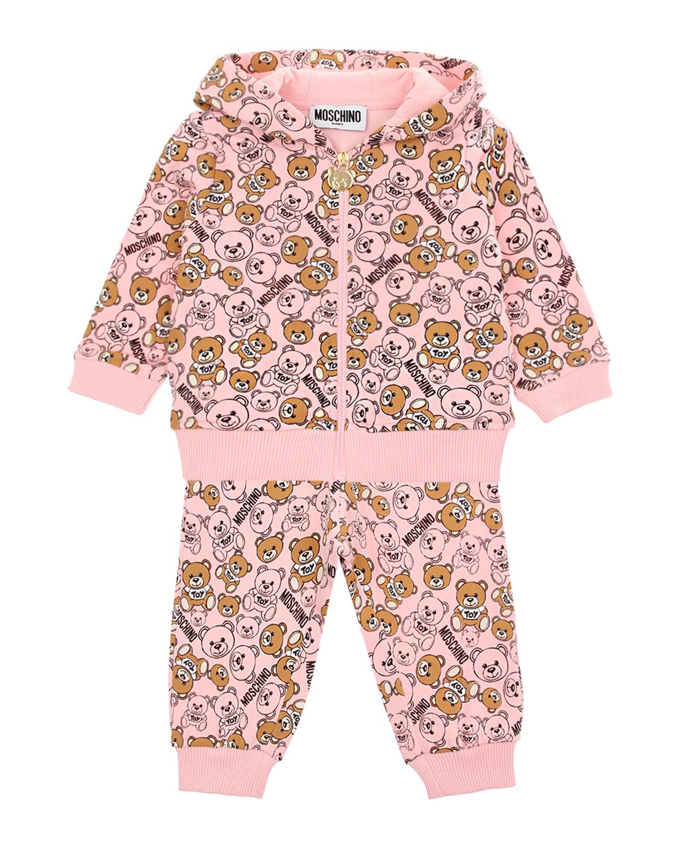 Купить Розовый спортивный костюм с принтом медвежата Moschino детский, 95% хлопок+5% эластан