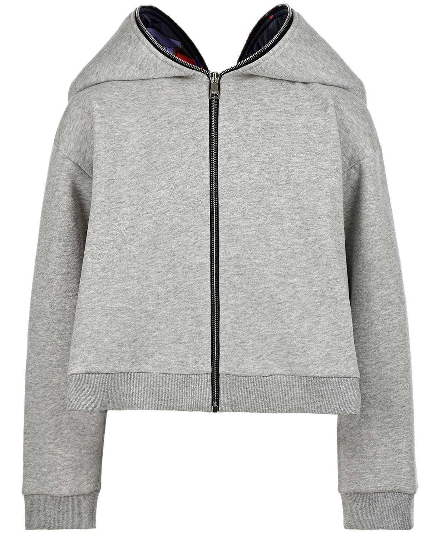 Купить Спортивная куртка с ушками на капюшоне Natasha Zinko детская, Серый, 50%хлопок+50%полиэстер, 95%хлопок+5%спандекс, 100%полиэстер