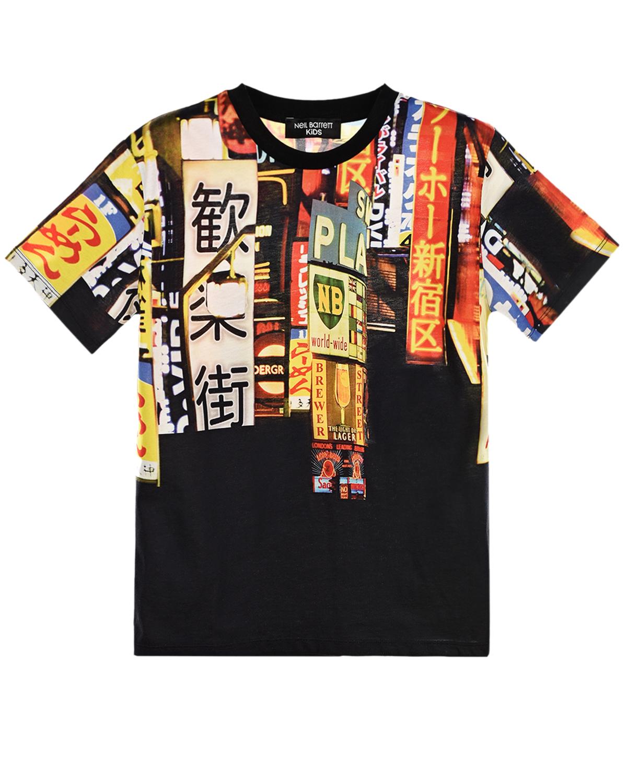 Купить Черная футболка с принтом билборды Neil Barrett детская, Черный, 100%хлопок
