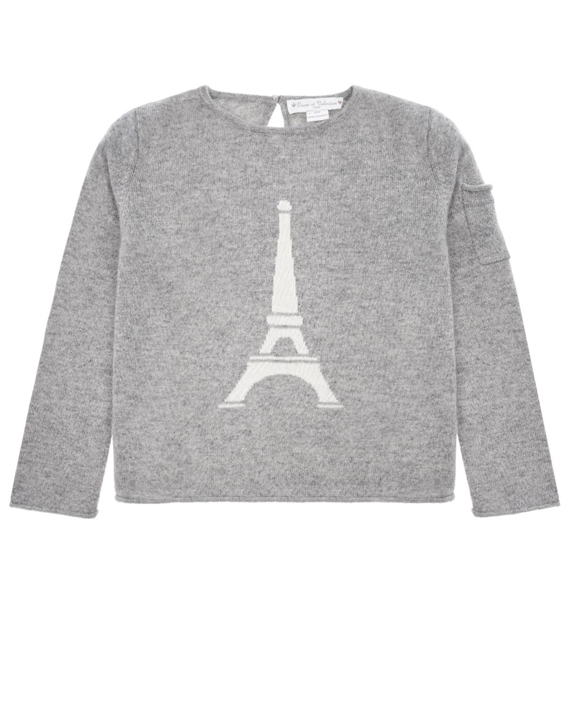 Купить Серый джемпер из кашемира с принтом Eiffel Tower Osсar et Valentine детский, Мультиколор, 100%кашемир