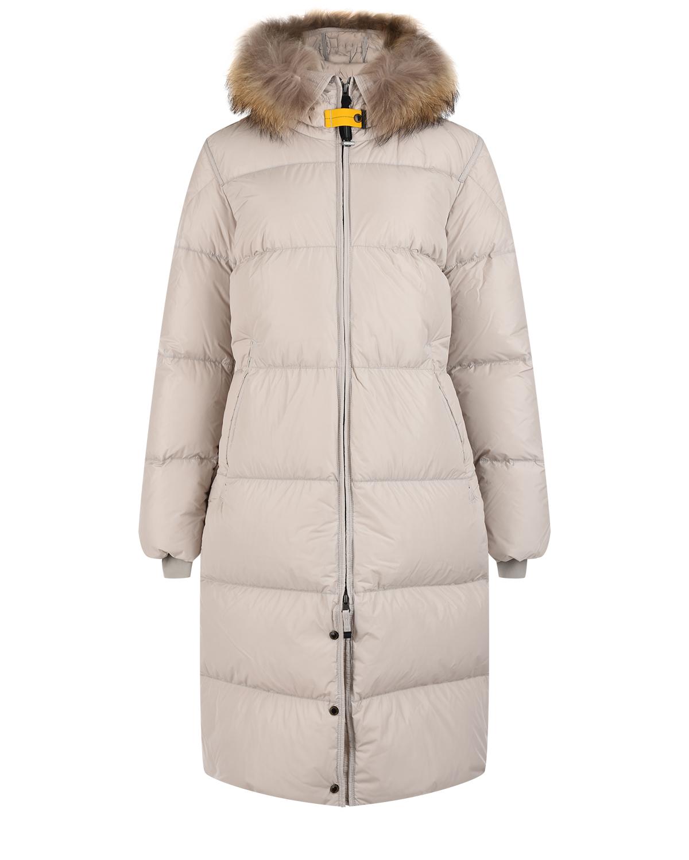 Серое пуховое пальто Parajumpers.