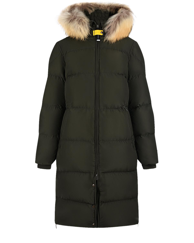 Купить Пуховое пальто цвета хаки Parajumpers, Зеленый, 100% полиэстер, 100% полиамид, 100% пух, 100% мех Енота