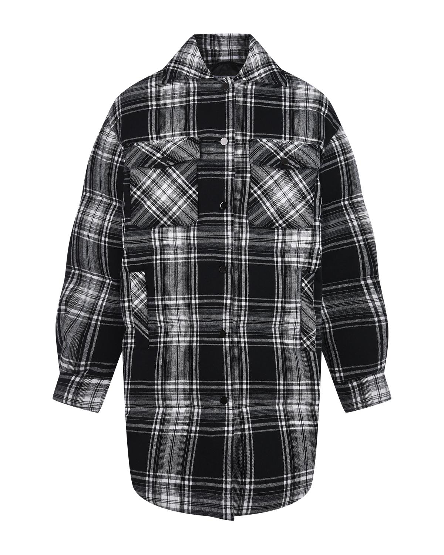 Купить Пальто имитирующее рубашку в клетку Parosh, Черный, 65%хлопок+35%полиэстер, 100%полиамид, 90%пух+10%перо