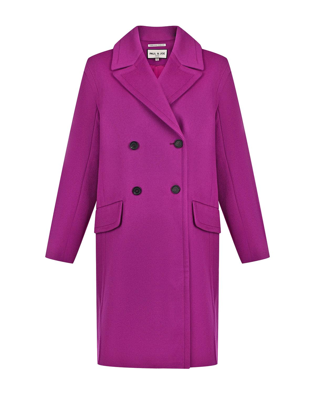 Купить Пальто oversize цвета фуксии Paul&Joe, Нет цвета, 70%шерсть+20%полиамид+10%кашемир, 100%вискоза