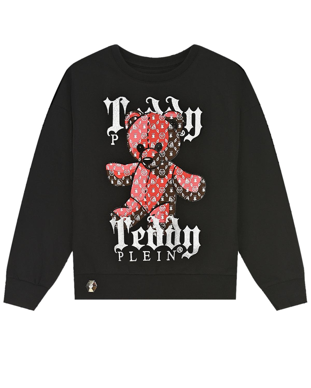Купить Черный свитшот с принтом медведь Philipp Plein детский, 95%хлопок+5%эластан, 100%стекловолокно