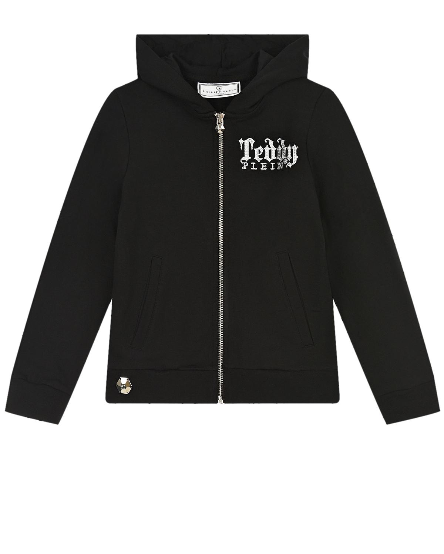 Купить Черная спортивная куртка с принтом медведь Philipp Plein детская, Черный, 95%хлопок+5%эластан, 100%стекловолокно