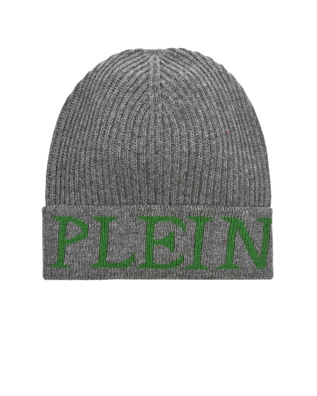 Купить Серая шапка с логотипом Philipp Plein детская, Серый, 49%шерсть+42%полиамид+9%кашемир