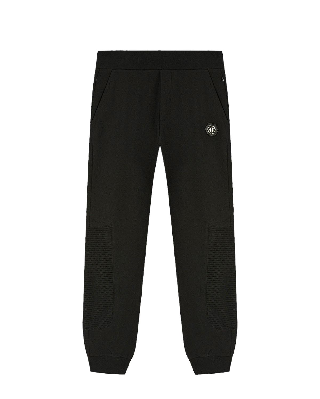 Купить Черные спортивные брюки с принтом Teddy Philipp Plein детские, Черный, 95%хлопок+5%эластан, 100%полиэстер