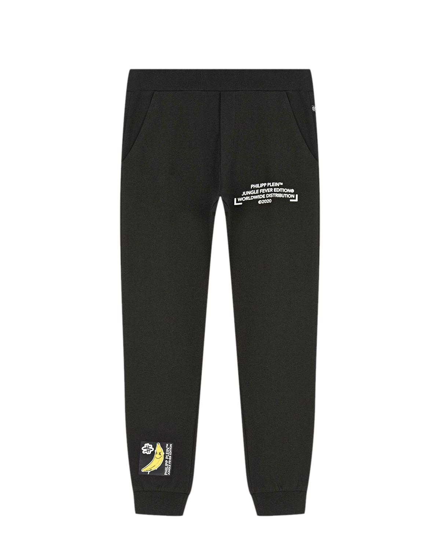 Купить Черные спортивные брюки с принтом банан Philipp Plein детские, Черный, 95%хлопок+5%эластан