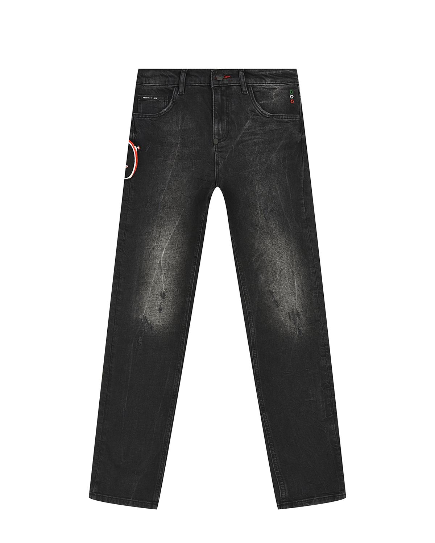 Купить Черные джинсы с аппликацией череп Philipp Plein детские, Черный, 98%хлопок+2%эластан, 65%полиэстер+35%хлопок, 100%полиэстер, 100%кожа
