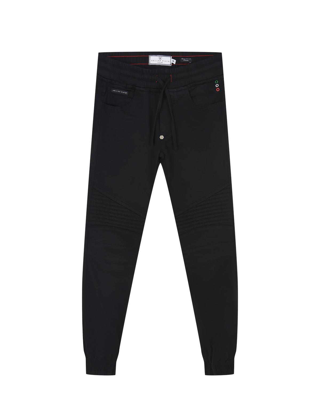Купить Черные джинсы с манжетами Philipp Plein детские, Черный, 98%хлопок+2%эластан, 65% полиэстер+35% хлопок, 100% полиэстер
