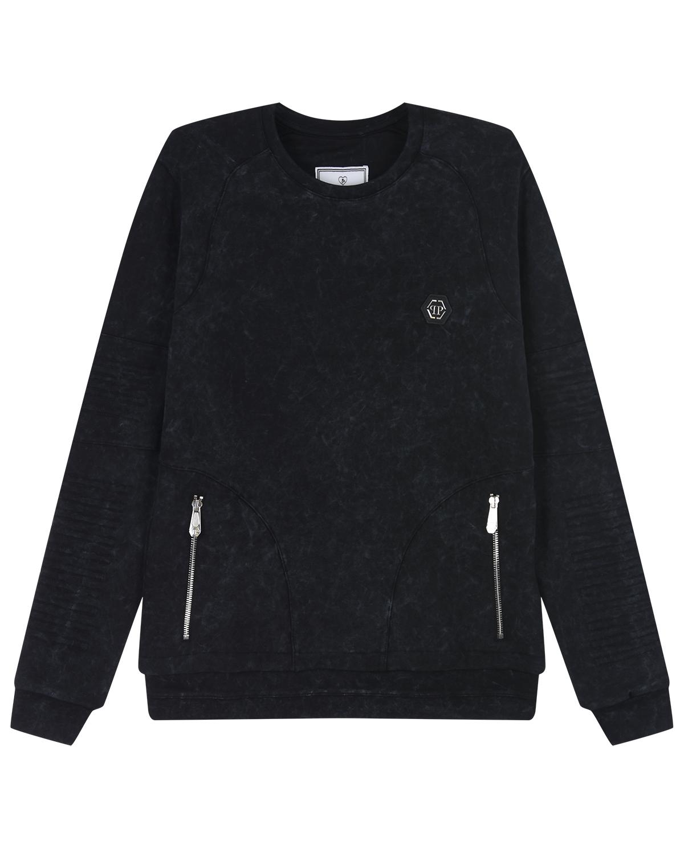 Купить Черный свитшотс карманами Philipp Plein детский, 95%хлопок+5%эластан, 100% полиэстер