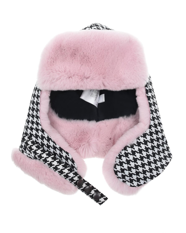 Купить Шапка-ушанка с мехом кролика для девочек Ploomlé детская, Розовый, 100%Мех Кролика рекс, 99%хлопок+1%эластан