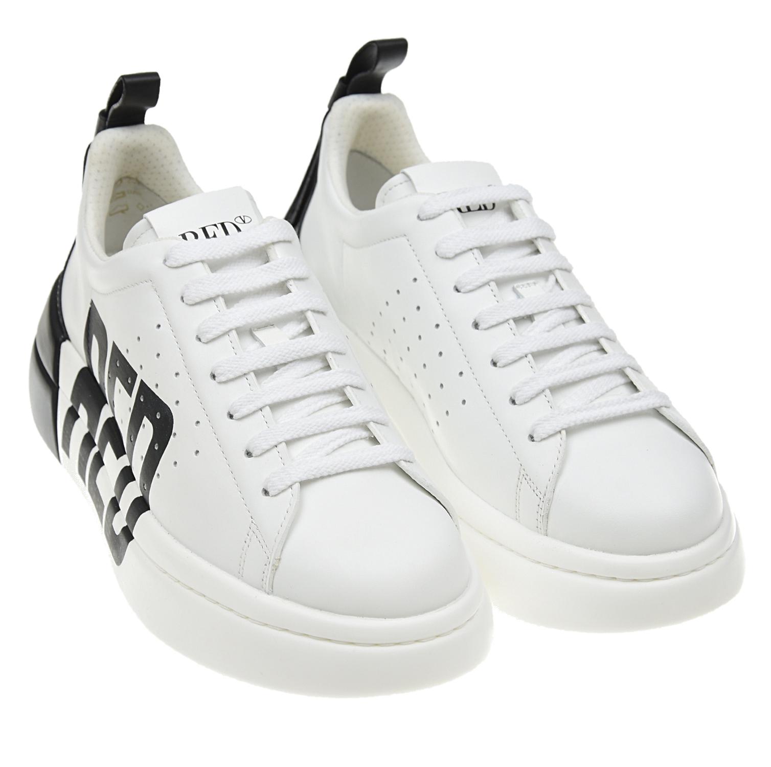 Купить Черно-белые кроссовки с контрастным логотипом Red Valentino, Белый, Верх:100%нат.кожа, Подкладка:100%полиэстер, 100%нат.кожа, Стелька:%3, Подошва:100%полиуретан