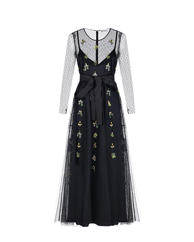 Черное платье с вышивкой бисером Red Valentino, Черный, 100%полиамид, 100%эластомультиэстер  - купить со скидкой