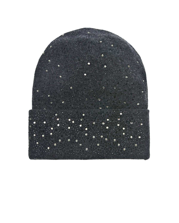 Купить Темно-серая шапка со стразами Regina детское, Серый, 70%шерсть+30%кашемир