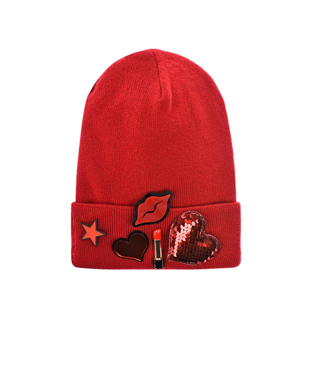 Купить Красная шапка из шерсти и кашемира для девочек Regina детская, Красный, 70%шерсть+30%кашемир
