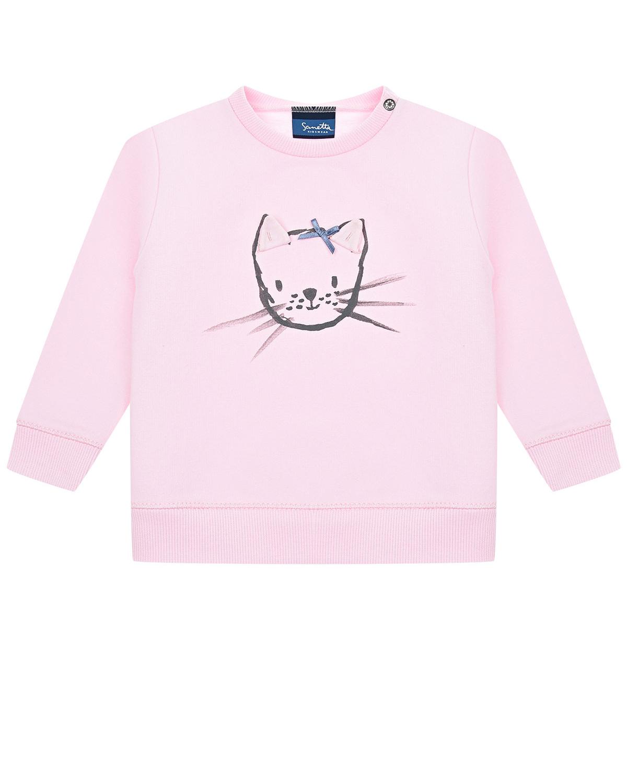 Купить Розовый свитшот с принтом Кошка Sanetta Kidswear детский, 95%хлопок+5%эластан