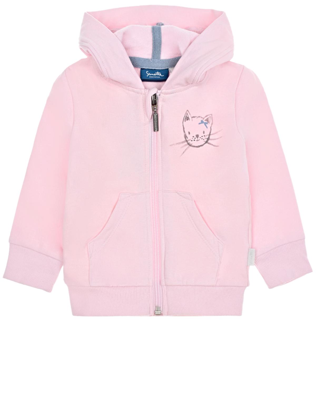 """Розовая спортивная куртка с принтом """"Кошка"""" Sanetta Kidswear детская, Розовый, 95%хлопок+5%эластан  - купить со скидкой"""