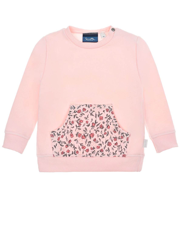 Купить Розовый свитшот с карманом-кенгуру Sanetta Kidswear детский, 95%хлопок+5%эластан