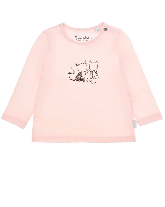Купить Толстовка с принтом Лисички Sanetta Kidswear детская, Розовый, 100%хлопок