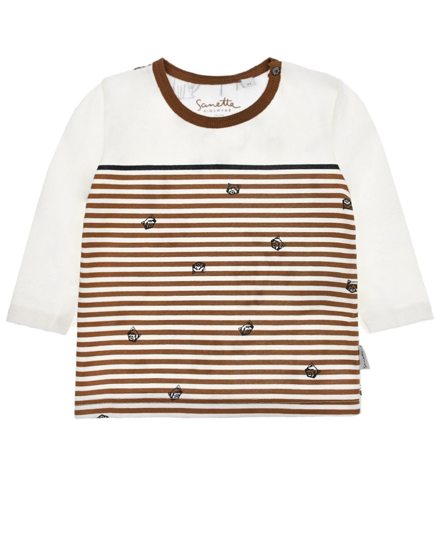 Купить Толстовка из хлопка в полоску Sanetta Kidswear детская, Кремовый, 100%хлопок