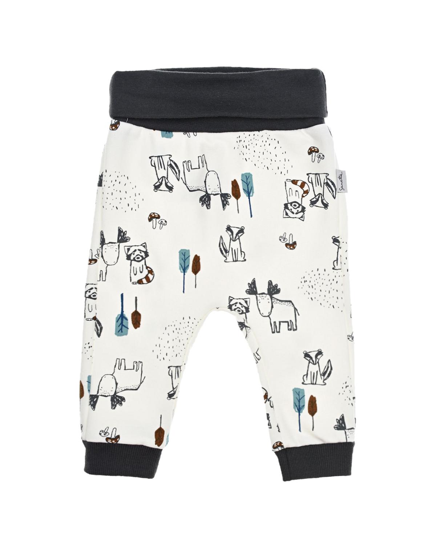 Купить Спортивные брюки с принтом Sanetta Kidswear детские, Кремовый, 95%хлопок+5%эластан