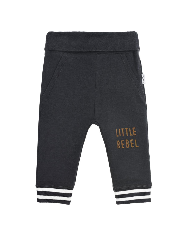 Купить Спортивные брюки с надписью Little rebel Sanetta Kidswear детские, Черный, 95%хлопок+5%эластан