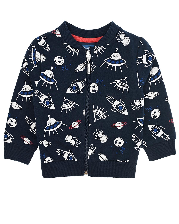 Купить Темно-синяя спортивная куртка с принтом Космос Sanetta Kidswear детское, Синий, 95%хлопок+5%эластан