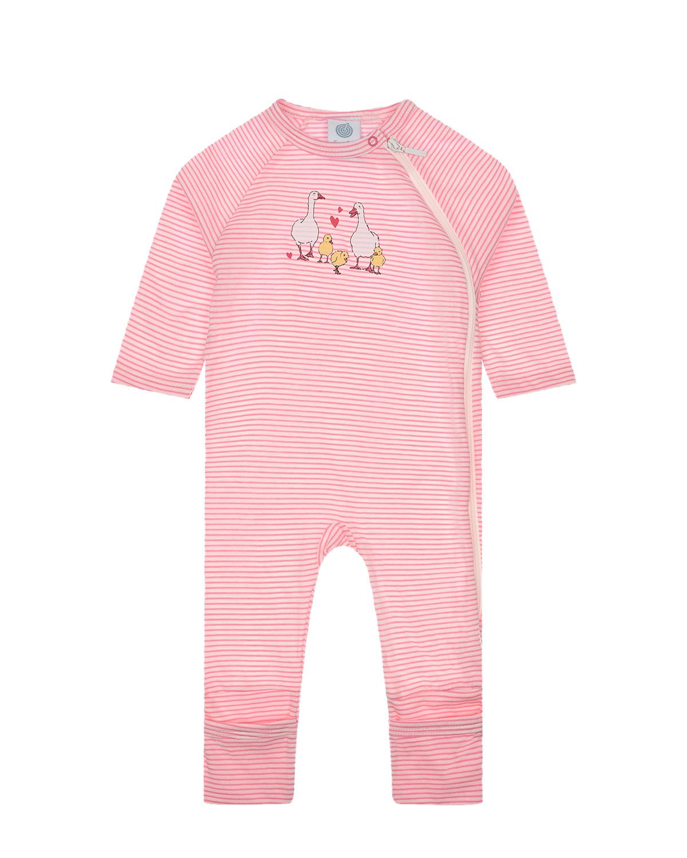 Купить Комбинезон в полоску с принтом Утки Sanetta детский, Розовый, 100% хлопок